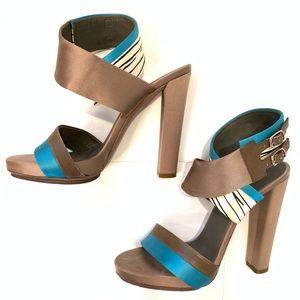 BALENCIAGA Satin Strappy Heeled Sandals Sz 40